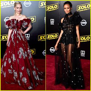 Emilia Clarke & Thandie Newton Attend 'Solo: A Star Wars Story' Premiere in Breathtaking Dresses