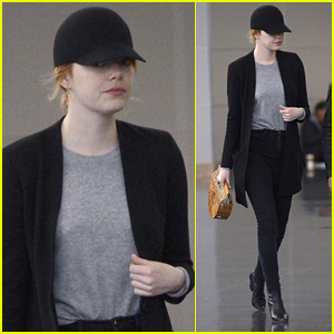 Emma Stone Keeps a Low Profile at JFK Airport in NYC