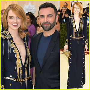 Emma Stone Stuns in Plunging Navy & Gold Gown at Met Gala 2018