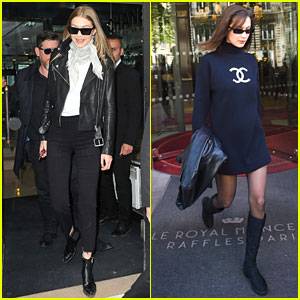 Gigi & Bella Hadid Visit the Chanel Store in Paris for Fittings