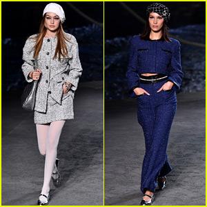 Gigi & Bella Hadid Walk in Chanel's Show in Paris