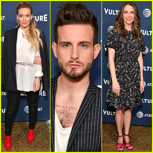 Hilary Duff, Nico Tortorella, & Sutton Foster Step Out to Promote 'Younger'!