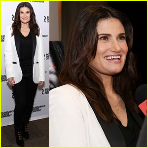 Idina Menzel Joins 'Skintight' Cast at Photo Call Ahead of Her Karaoke Benefit