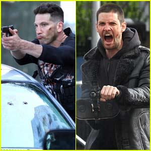 Jon Bernthal & Ben Barnes Get In Gun Fight on 'The Punisher' Set