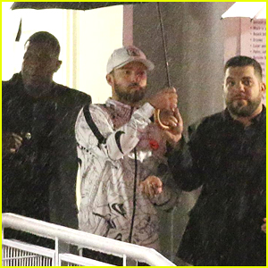 Justin Timberlake Braves the Rain After Miami Concert