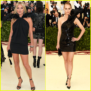 Kate Moss Returns to Met Gala After 10 Years, Matches Amber Valletta in Saint Laurent