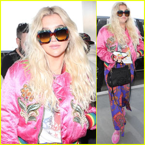 Kesha Goes for a Colorful Look While Heading Out of LA!