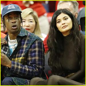 Kylie Jenner & Boyfriend Travis Scott Attend Houston Rockets Game!
