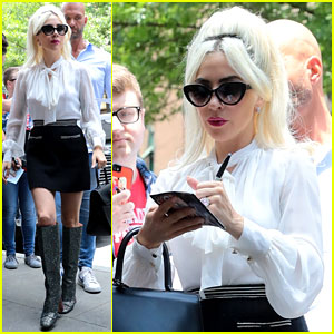 Lady Gaga Greets Fans During Another Day at the Studio
