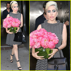 Lady Gaga Carries a Bouquet While Leaving the Recording Studio in NYC