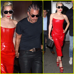 Lady Gaga Rocks Red Leather Dress While Out with Boyfriend Christian Carino!