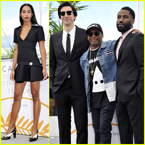 Laura Harrier & Adam Driver Join 'BlacKkKlansman' Cast at Cannes Film Festival Photo Call!