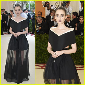 Lily Collins Carries Rosary Beads on Met Gala 2018 Red Carpet