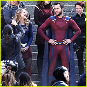 Melissa Benoist & Boyfriend Chris Wood Share a Laugh on the Set of 'Supergirl'!