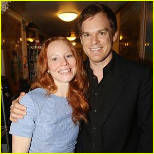 Michael C. Hall Visits Lauren Ambrose at 'My Fair Lady' on Broadway!
