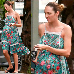 ba3b7933d9f Pregnant Candice Swanepoel Covers Up Baby Bump in Summer Dress ...