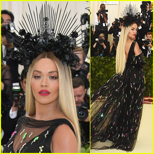 Rita Ora Stuns in Black Floral Headpiece at Met Gala 2018