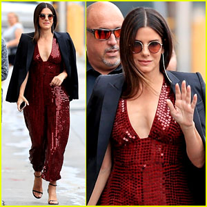 Sandra Bullock Dazzles in Red Sequin Jumpsuit for 'Jimmy Kimmel Live' Appearance