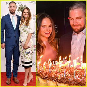 Stephen Amell Celebrates Birthday Early at Kentucky Derby with Cassandra Jean & Emily Bett Rickards!