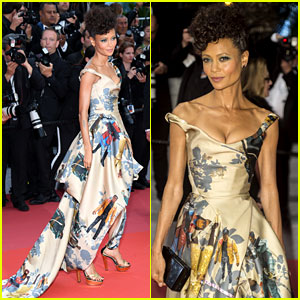 Thandie Newton Wears Dress Featuring Black 'Star Wars' Characters to 'Solo' Cannes Premiere