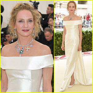 Uma Thurman Dazzles in White at Met Gala 2018