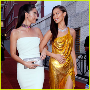 Bella Hadid & Lily Aldridge Have a Girls' Night Out at Bvlgari Dinner in Italy