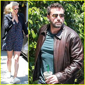 Ben Affleck & Lindsay Shookus Get to Work at His Office