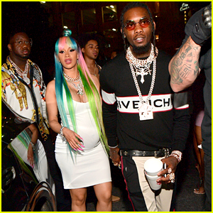 Pregnant Cardi B Rocks Rainbow Hair While Partying With Offset!