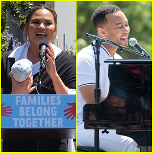 Chrissy Teigen Brings Newborn Son Miles to Families Belong Together March