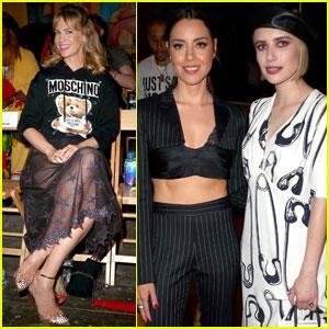 January Jones Joins Emma Roberts & Aubrey Plaza at 'Moschino' Fashion Show!
