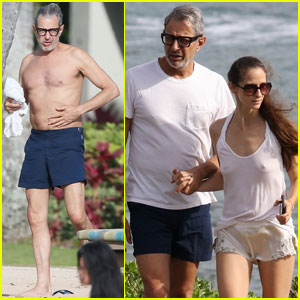 Jeff Goldblum Goes Shirtless During Beach Vacay With Wife Emilie Livingston