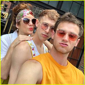 Kate Walsh Joins '13 Reasons Why' Co-Stars Tommy Dorfman & Brandon Flynn at NYC Pride!