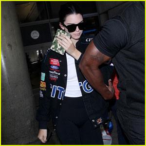 Kendall Jenner Rocks NASCAR Jacket While Arriving at LAX