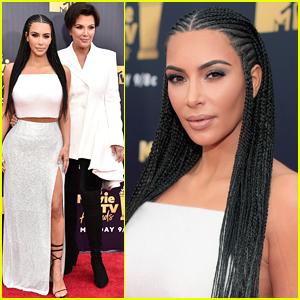 Kim Kardashian Braids Her Hair for MTV Movie & TV Awards 2018