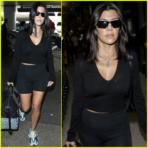 Kourtney Kardashian Gets Sporty While Heading Out of LA