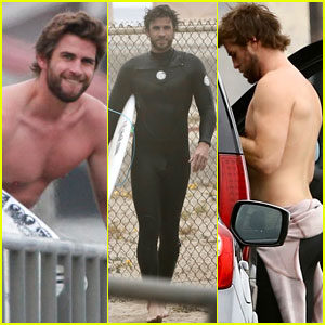 Liam Hemsworth Bares Hot Bod While Stripping Out of Wetsuit