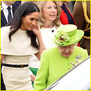 Duchess Meghan Markle & Queen Elizabeth Avoid a Royal Mishap at Their Car
