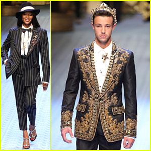 Naomi Campbell Suits Up To Walk Dolce&Gabbana Men's Runway