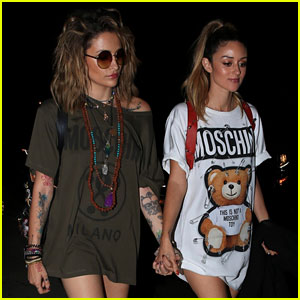 Paris Jackson & DJ Caroline D'Amore Walk Hand-in-Hand at Moschino After-Party