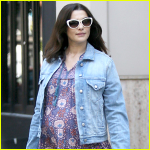 Pregnant Rachel Weisz Looks Pretty in Purple While Heading Out in NYC