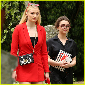 Sophie Turner & Maisie Williams Arrive for Their 'Game of Thrones' Co-Stars' Wedding!