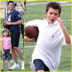 Tom Brady Plays Football with His Kids at Best Buddies Event!