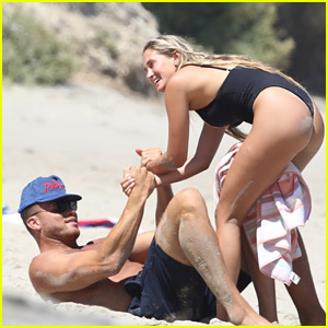 NBA's Blake Griffin & Francesca Aiello Playfully Wrestle on the Beach!