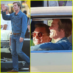 Brad Pitt & Leonardo DiCaprio Spotting Filming 'Once Upon A Time In Hollywood' Together