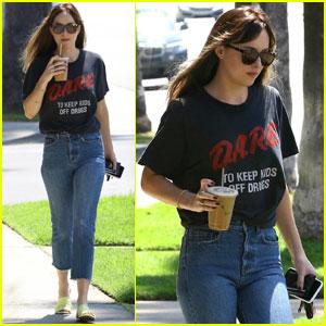 Dakota Johnson Keeps It Casual For Coffee Run in LA!