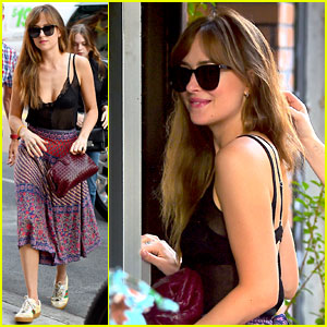 Dakota Johnson Dons Semi-Sheer Top for Dinner With Sister Stella Banderas