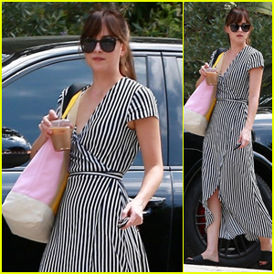 Dakota Johnson Stuns in Stripes While on the Way to Visit a Friend in LA!