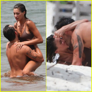 Ed Westwick & Girlfriend Jessica Serfaty Pack on the PDA in Tulum