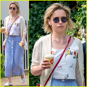 Emilia Clarke Grabs a Coffee During Sunny Stroll in London