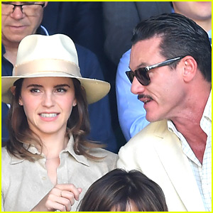 Emma Watson & Luke Evans Have a 'Beauty & the Beast' Reunion at Wimbledon!